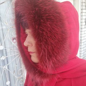 Red Hooded Winter Coat PURE VIRGIN WOOL FITS XL 1X